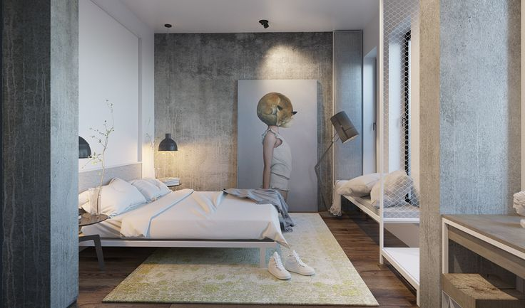 white and gray bedroom design
