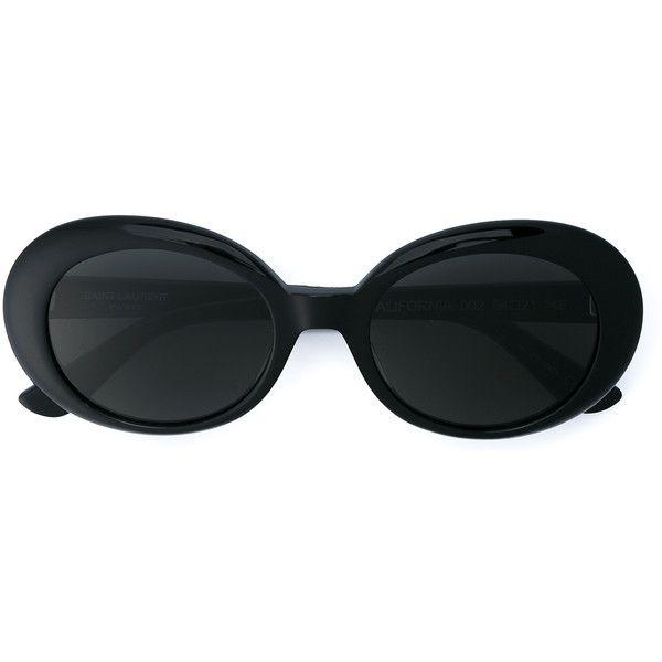 Saint Laurent California Oval Sunglasses (£195) ❤ liked on Polyvore featuring accessories, eyewear, sunglasses, glasses, ysl, yves saint laurent sunglasses, engraved glasses, yves saint laurent glasses, yves saint laurent and glitter sunglasses