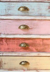 8448 cómoda antigua cajones colores