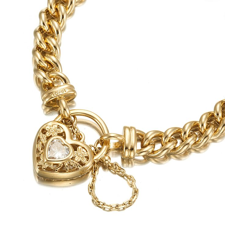 18ct Yellow Gold Layered Curb Bracelet with Simulated Diamond and Filigree Locket | Allure Gold