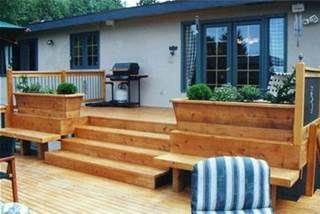 Similar to my current (soon-to-be demo'ed) deck. Love the idea of planters!