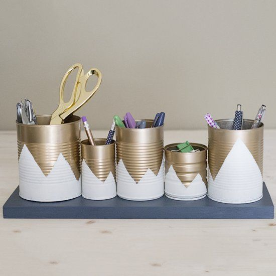 Create a new desk organizer out of tin cans!