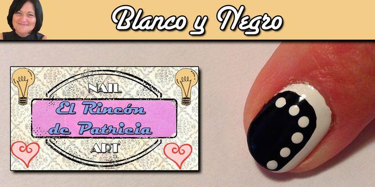 Diseño de uñas blanco y negro combinado- El rincón de Patri- Combined black and white Nail Art . Sigue todos nuestros diseños de decoración de uñas en http://www.rincondepatri.com