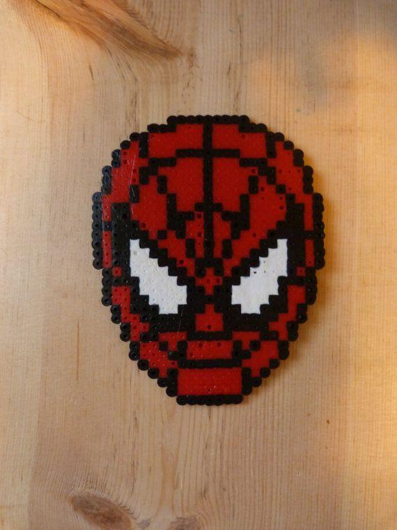 Perler - Marvel Spiderman Head Magnet (see description) on Etsy, $6.00