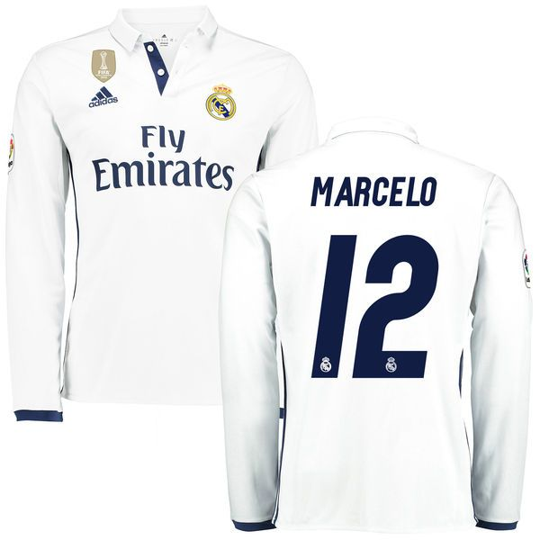 3dbde1ddf9c ... Kit Marcelo Real Madrid adidas 201617 Home FIFA World Cup Champions  Patch Replica Long Sleeve Ronaldo Real Madrid ...