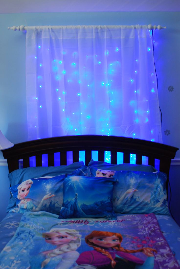 I love the idea of having lights behind the curtain... maybe icicle lights behind a sheer blue curtain? Perfect since my girls are still afraid of the dark!                                                                                                                                                                                 More