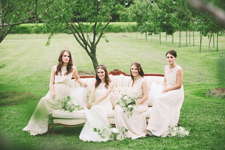 Vintage Couch and Bridesmaids - Niagara-on-the-Lake Kurtz Orchards Wedding | Reed Photography | www.reedphoto.ca