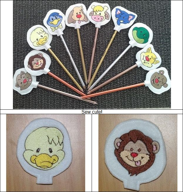 "Free Standing ""Pencil Pals"" With the little ones back in school these friendly little pencil toppers are a great way to let them know your with them in spirit. Very Cute! Guaranteed winner!   #freestandingembroideryproject #backtoschoolembroidery #penciltopperembroidery"