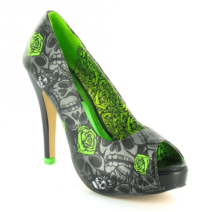 Iron Fist Muerte Punk Womens PU Peep-Toe High Stiletto Heel Platform Shoes - Gun Metal Grey + Lime Green - SWEET!