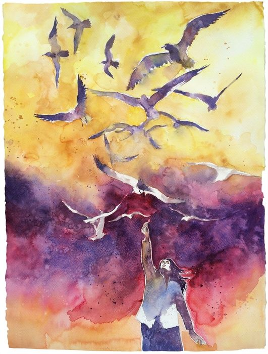 The woman of seagulls, Watercolor painting by Alessandro Andreuccetti | Artfinder