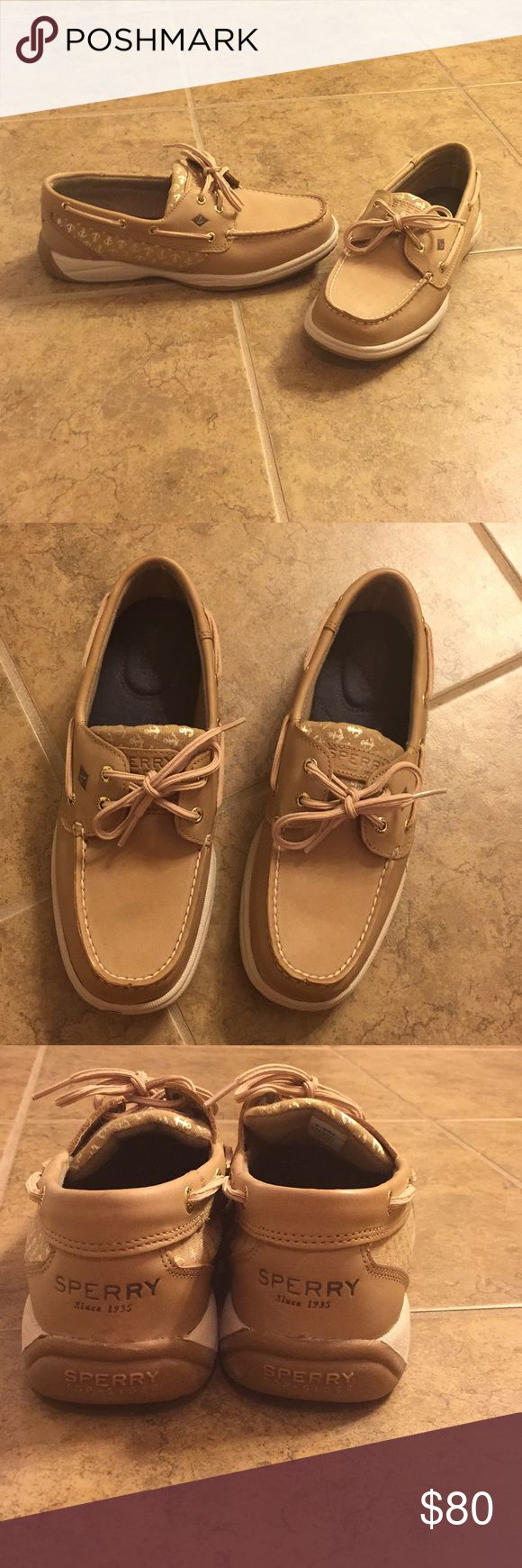 NEW Sperry topsiders womens 7.5 Brand new never worn. Sperry topsider boat shoe. Tan with super cute anchor pattern on the side. Sperry Top-Sider Shoes Flats & Loafers