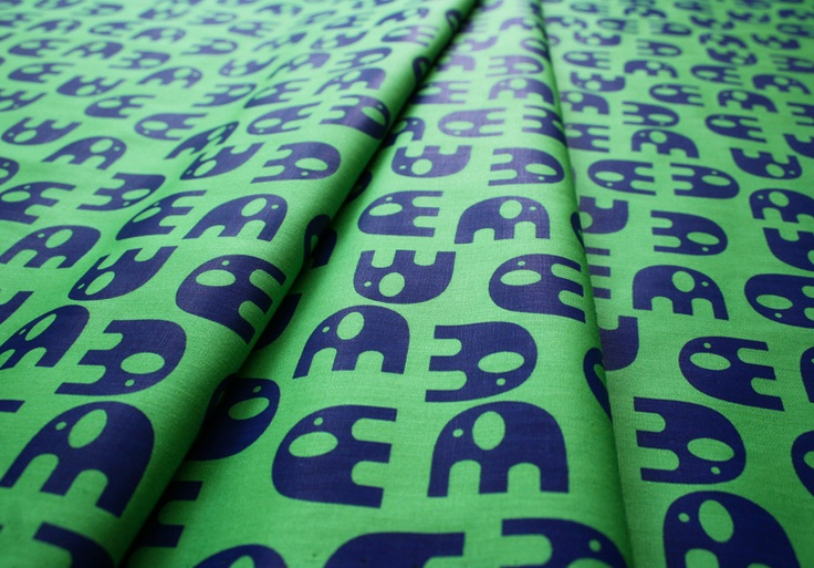 Fabric Finders #1440 Navy Elephants on Green
