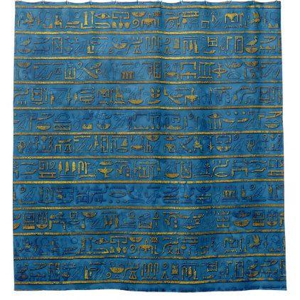 Golden Embossed Egyptian hieroglyphs on blue Shower Curtain - shower curtains home decor custom idea personalize bathroom