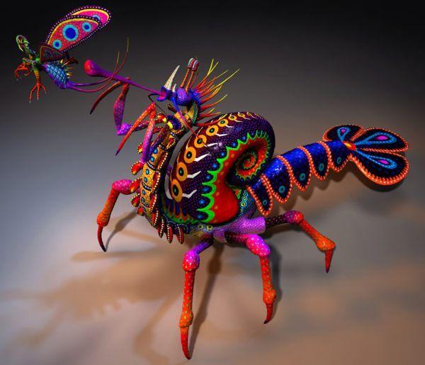 Alebrije Cola de Langosta, patas de cangrejo, concha de caracol en la espalda, cueyo de cienpiés, extremidades de grillo, cabeza de dragón.