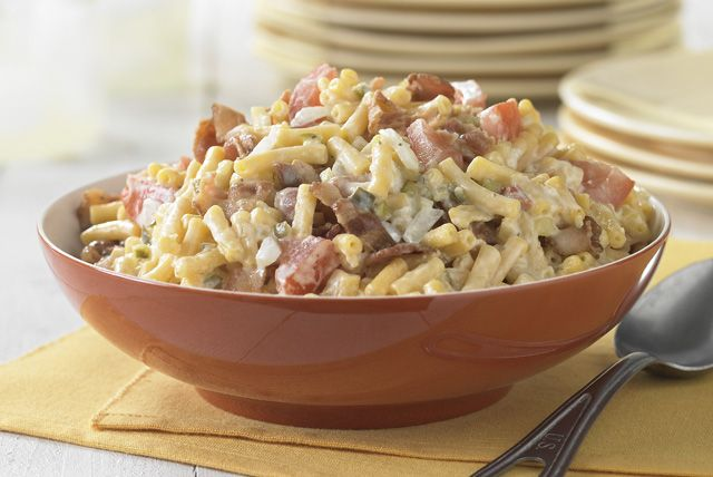 Waaay beyond boring macaroni salad. Bacon, tomatoes and pickle relish add loads of flavor to a picnic-perfect salad that's just the thing for a hot summer day.