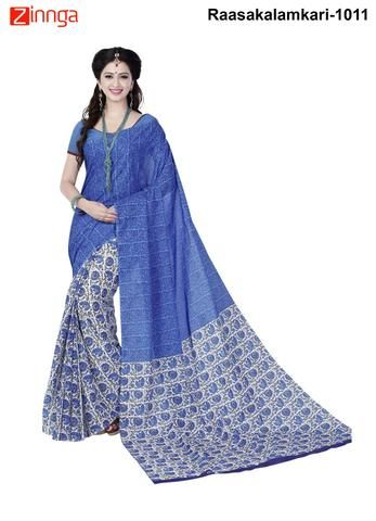 Women's Beautiful  Blue Color Cotton Saree  #sarees #womens #fashion #newarrival #zinngafashion #latest #nicelook