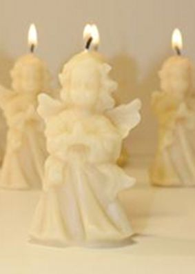 Queen B Beeswax Angel Candle