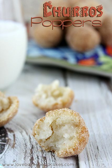 Churros Poppers - an easy dessert or snack idea full of cinnamon & sugar.