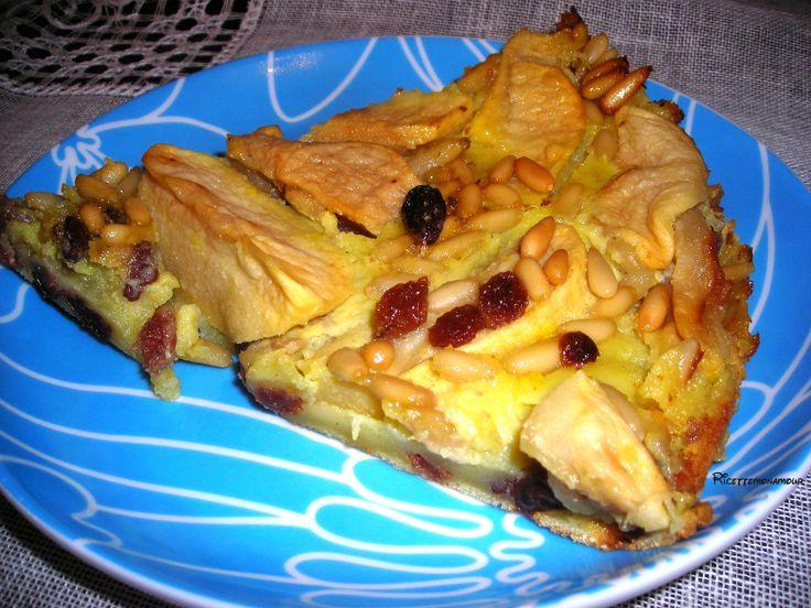 clafoutis alle mele, clafoutis, ricetta dolce, clafoutis mele uvetta e pinoli