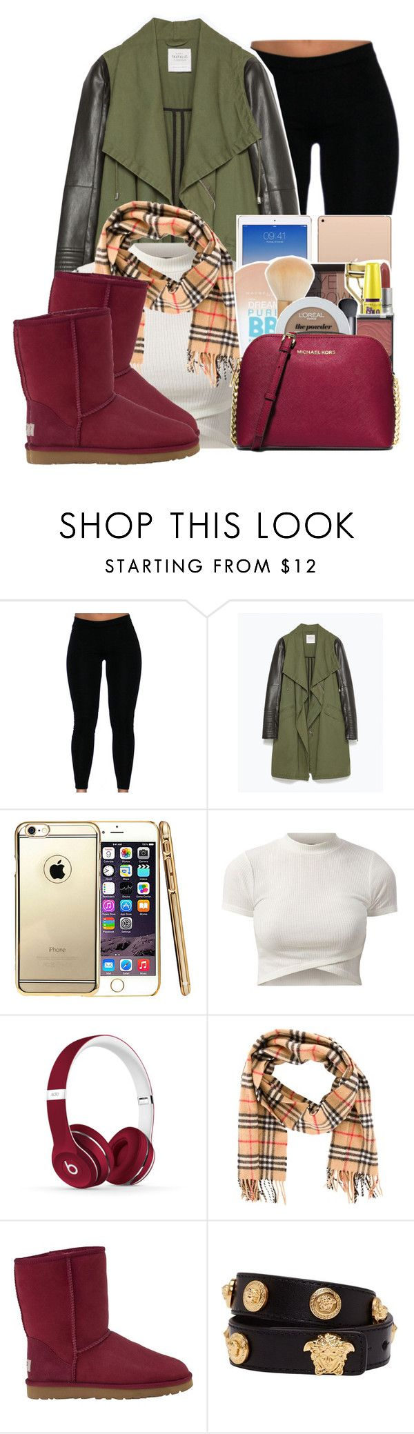 """""""Untitled #470"""" by stay-spifft ❤ liked on Polyvore featuring beauty, Zara, Beats by Dr. Dre, Burberry, UGG Australia, Versace and MICHAEL Michael Kors"""