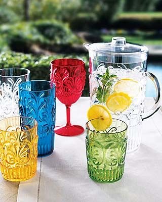 La Fleur Outdoor Drinkware: Take the party outside with colorful, durable melamine drinkware and a clear pitcher. Dishwasher safe. For the drinkware, choose color below. Imported.    Iced-tea glass holds 24 ounces.    Tumbler holds 16 ounces.    Wine glass holds 15 ounces.    Pitcher holds 84 ounces.