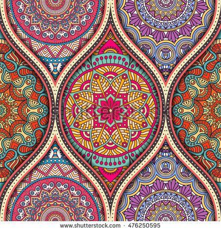 Seamless Pattern Tile With Mandalas Vintage Decorative