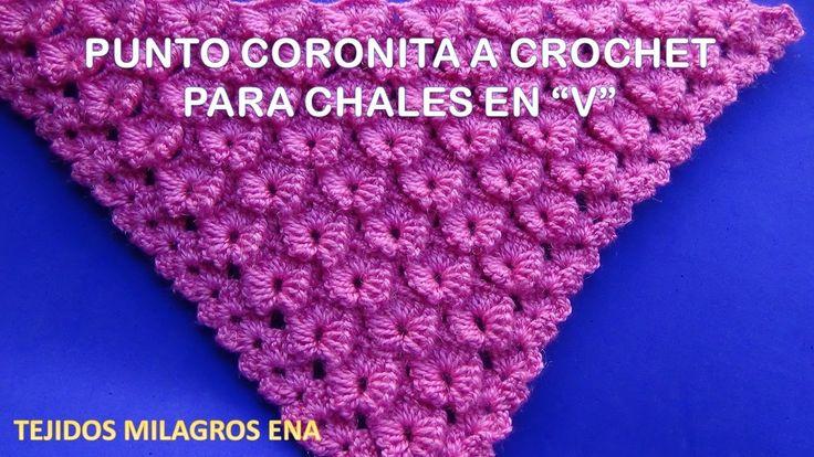 Chal o Shawl paso a paso en Punto Coronita en V tejido a crochet