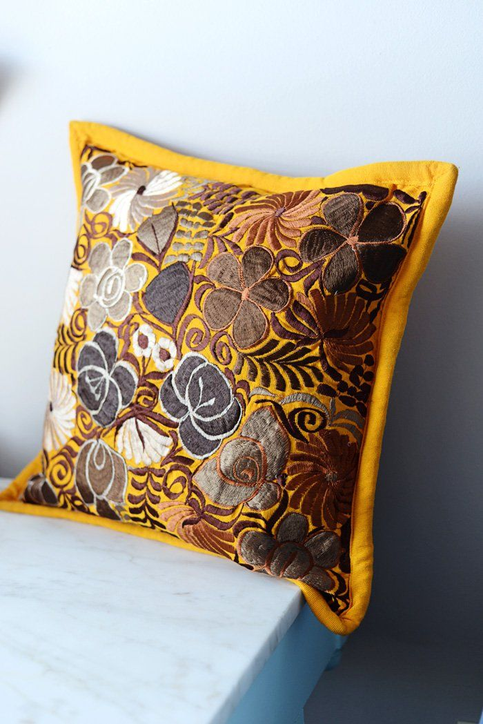 """Mexican Pillow Cover Oaxaca Handmade Floral Embroidered Decorative Pillow Case 19""""x19"""""""