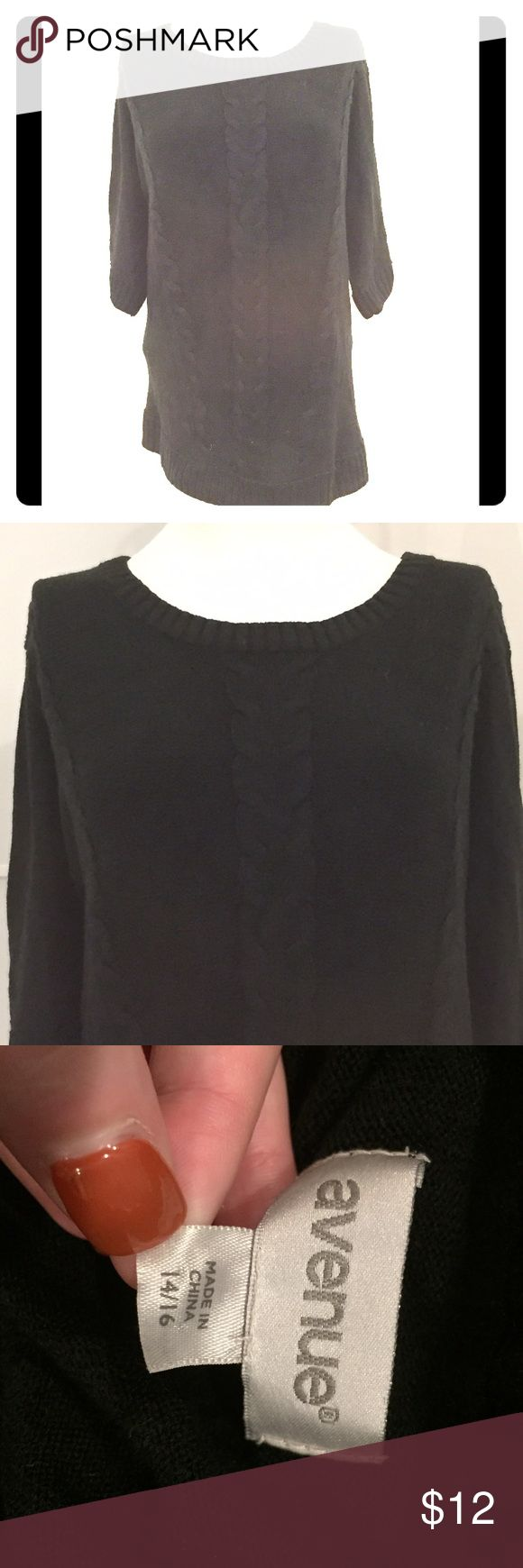 PLUS Black SS Cable Sweater from Avenue! 14/16 Perfect for fall/winter! Love that it has short sleeves! You can layer it with a long sleeve tee if you want. Wear to work or casually on the weekends! Avenue Sweaters Crew & Scoop Necks