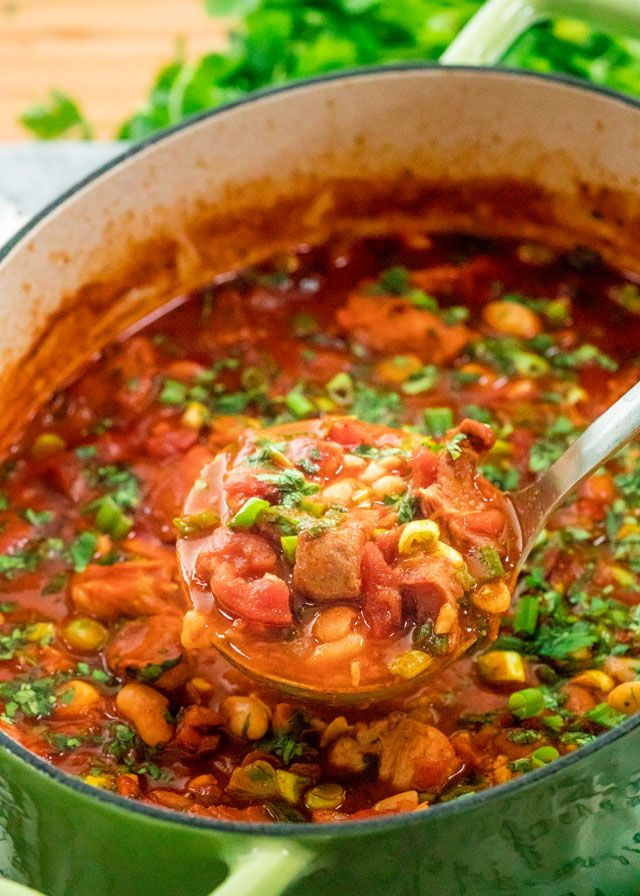 This One Pot spicy Mexican Pork Stew brimming with pork, sausage and beans is a classic hearty dish full of deep Mexican flavor.