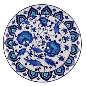 Mavi Beyaz Lotus Desenli Çini Tabak