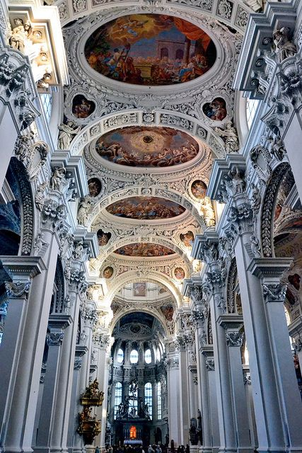 Italian baroque architecture inside Dom St. Stephan in Passau, Germany. oooh i want to see this one!