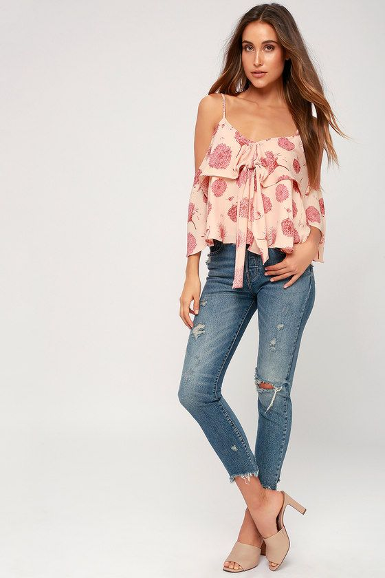 79aa3da3c11 Robina Blush Pink Floral Print Tie-Front Off-the-Shoulder Top in ...