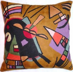 Contemporary Throw Pillows – Kandinsky Black & Violet