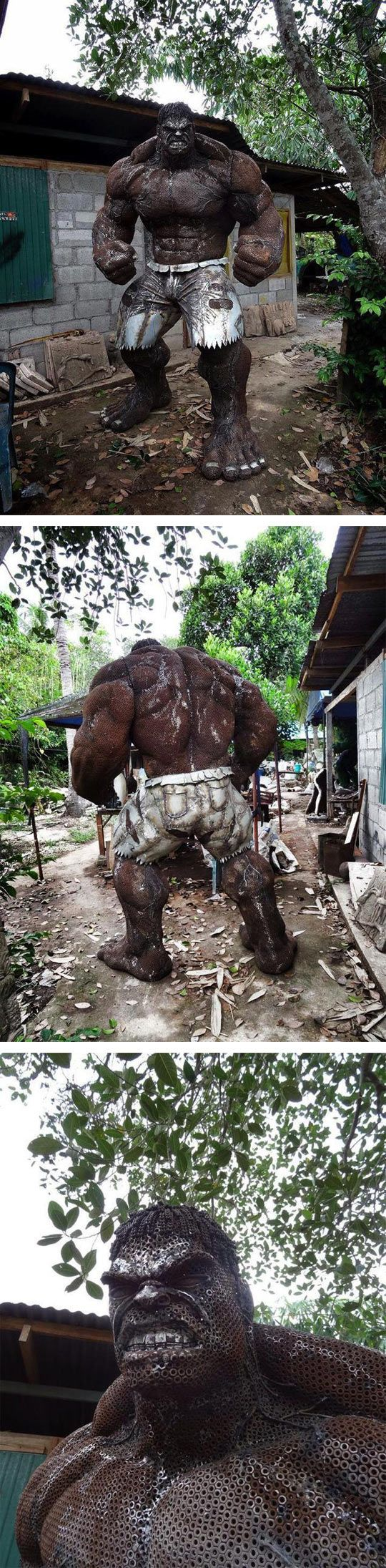 Incredible Scrap Metal Hulk ... I wonder where his home is ... He'd definitely put the  neighbor's gnomes to shame!! :)