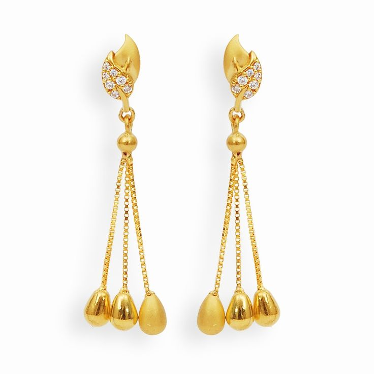 Earrings | Fancy Leaf String Drops gold earrings | GRT Jewellers