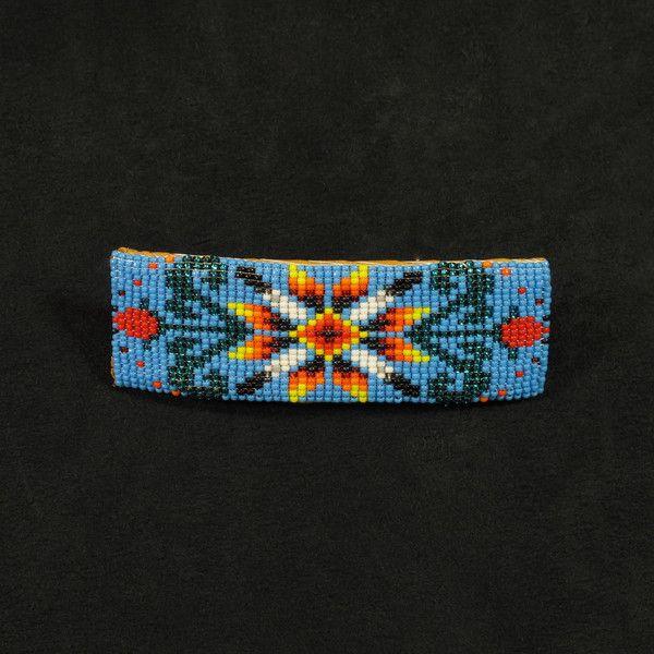 beaded barrette | Blue Floral Beaded Barrette
