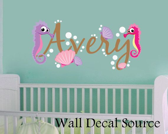 Nursery Wall Decal - Under The Sea - Oceanic Wall Decal - Seahorse Wall Decal on Etsy, $45.00