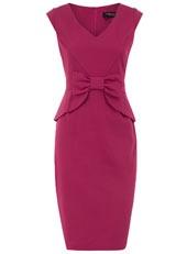 Rasberry peplum bow dress