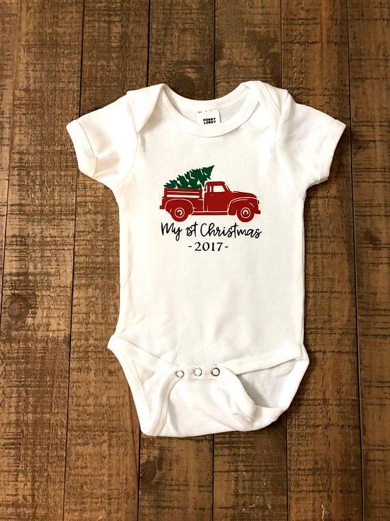 Red Merry Christmas Long Sleeve Organic Cotton Baby Onesie Bodysuit Gift for Infant Boys Girls