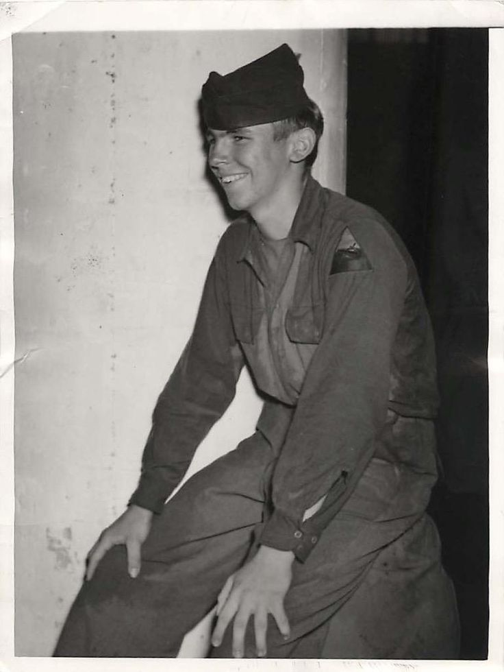"""1945- 14-year-old Robert Helso, Houston, TX, who earned a Purple Heart during his 6 months of duty overseas, fooled his draft board and was sent into action in Europe. His mom thought he was at a YMCA camp. His father's decision to let the boy """"lead his own life"""" kept the parents from informing the authorities.."""