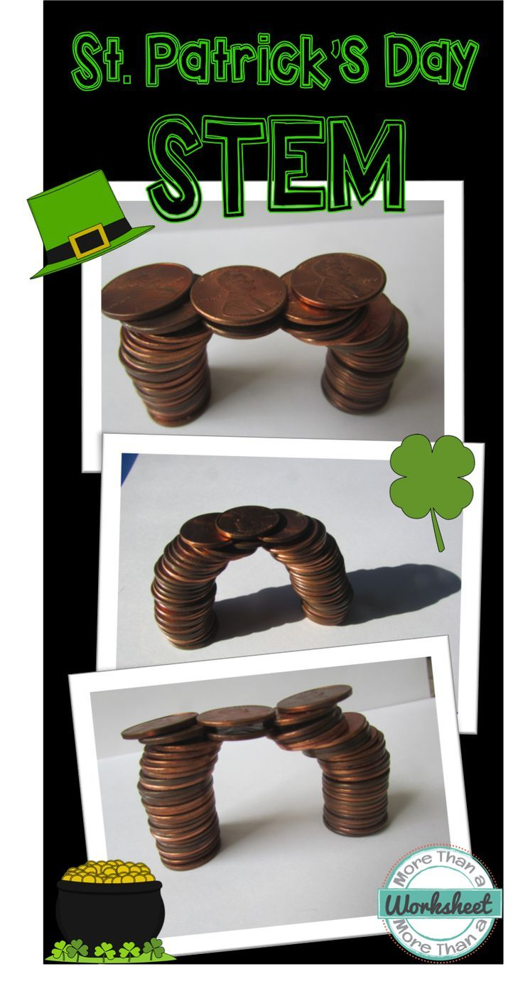 The luck of the Irish was with you, and you found the pot of gold! Now…to escape the leprechauns, you must build a bridge out of coins! Fun STEM engineering challenge from More Than a Worksheet $