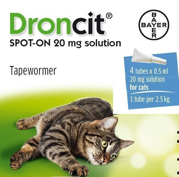 Droncit Spot On Tape Wormer For Cats 4 Pack Apply To The Skin Liquid Wormer Cats Cat Medicine Cat Health Care