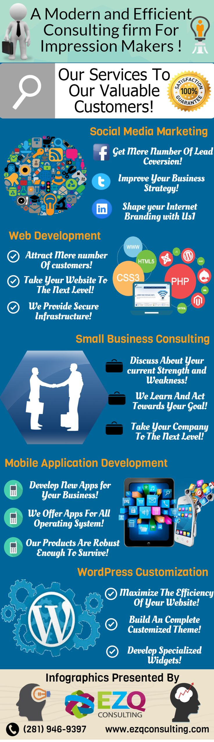 A Modern and Unique Consulting Firm for Impression Makers in Houston:- EZQ Consulting, offers everything that is expected to get your organization prepared to command the business sector. It's our center procedure to persuade potential organizations and new businesses to create, make and execute different business techniques to develop their web situating, get upper hand and eventually, add to their enhanced piece of the overall industry. Call us Today (281) 946-9397.
