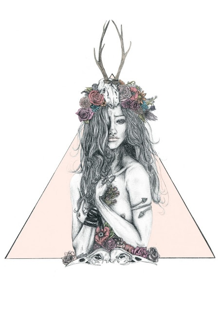 A new pencil fashion Illustration with lots of hair, flowers and animal skulls