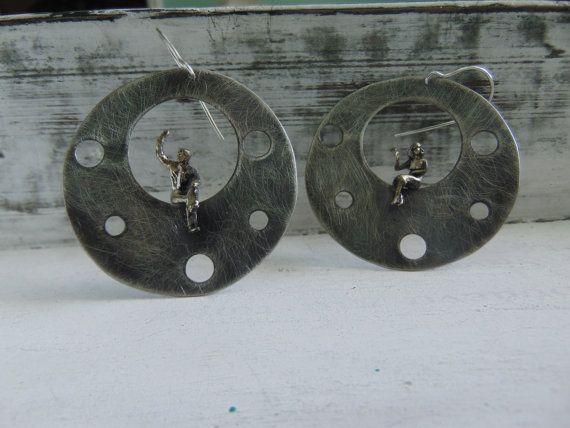 Circle earrings Geometric earrings silver by pepeyoyojewellery