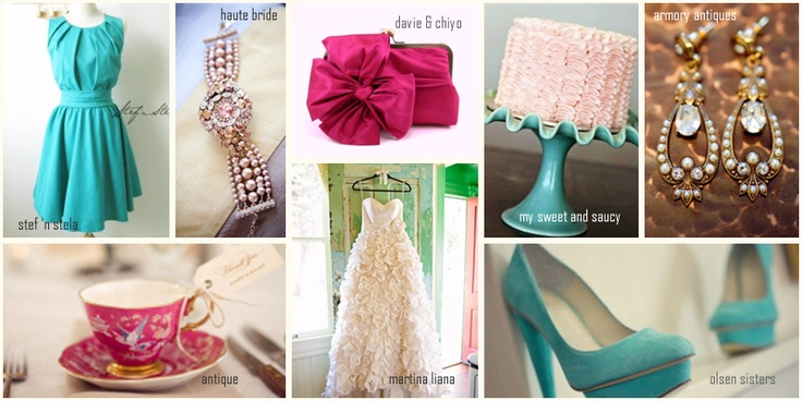 jade and pink wedding colour theme