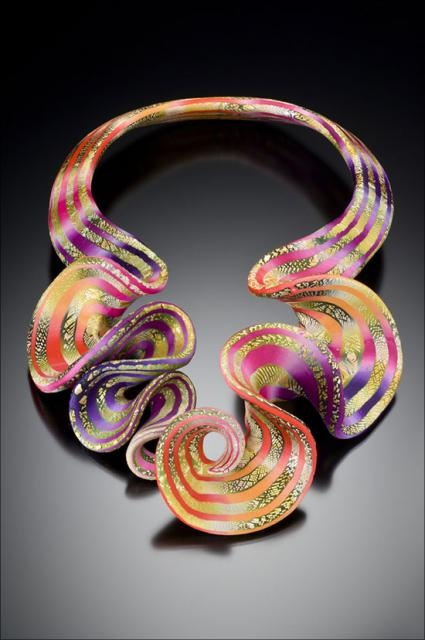 Necklace    Elise Winters.  Polymer, acrylic paints and glazes