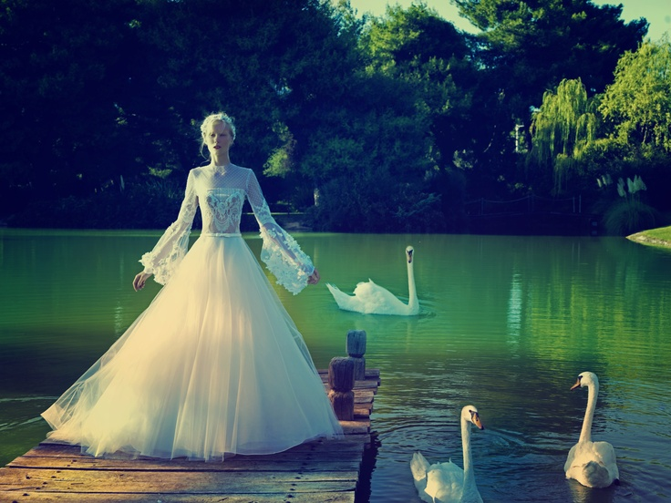 A picturesque scenery was chosen to highlight the elegance and romanticism of Celia Kritharioti Haute Couture creations.   Photo: Kostas Avgoulis