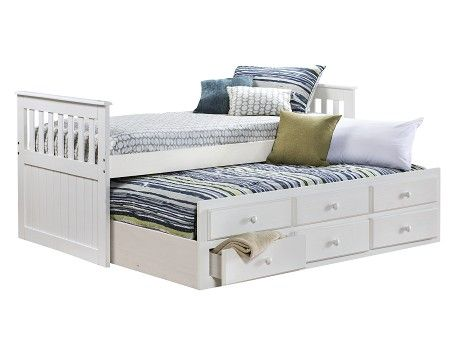 Best Knollwood Collection White Captains Bed Twin Captains 640 x 480